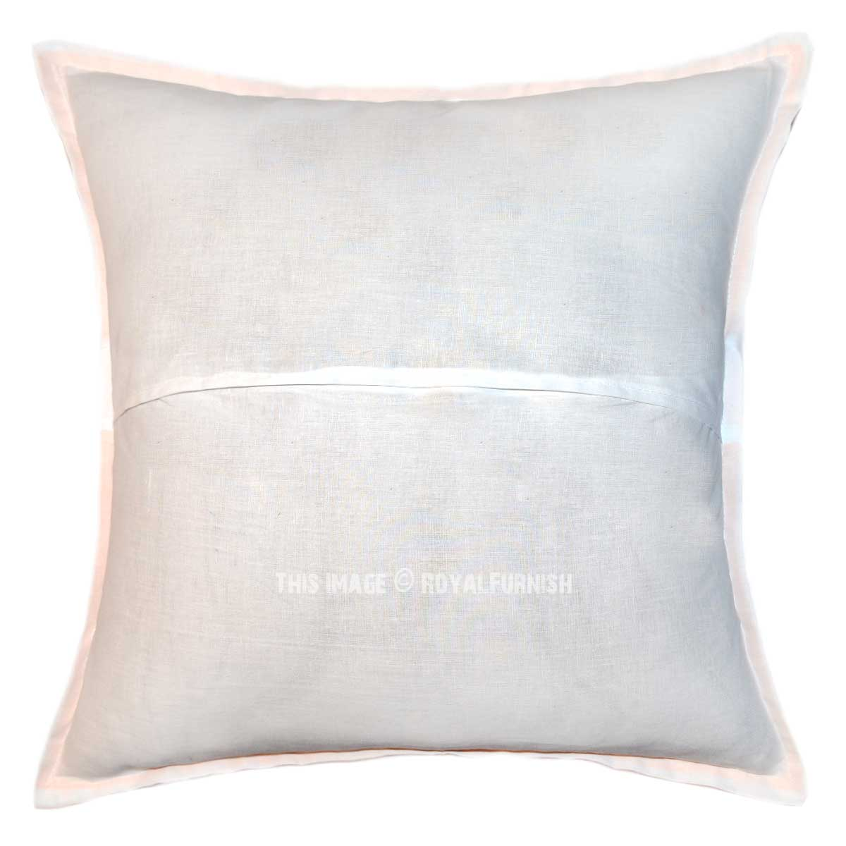 Decorative Pillows With Mirrors : 16X16 White Unique Mirror Embroidered Designer Throw Pillow Case - RoyalFurnish.com