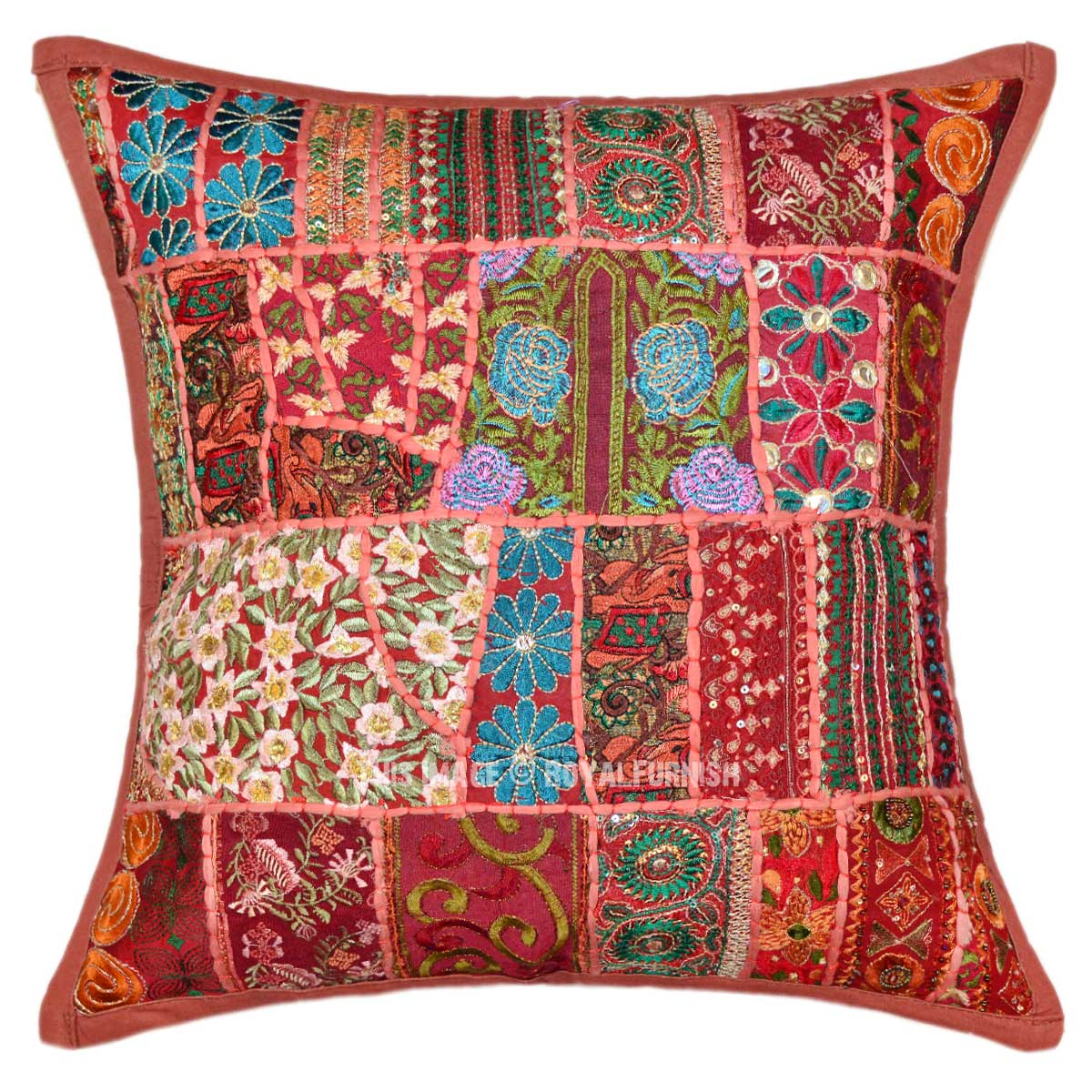 Brown Unique Multi Embroidered Patchwork Accent Pillow
