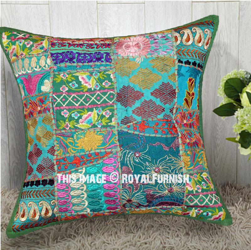 Green 18x18 Unique Patchwork Decorative Throw Pillow Case