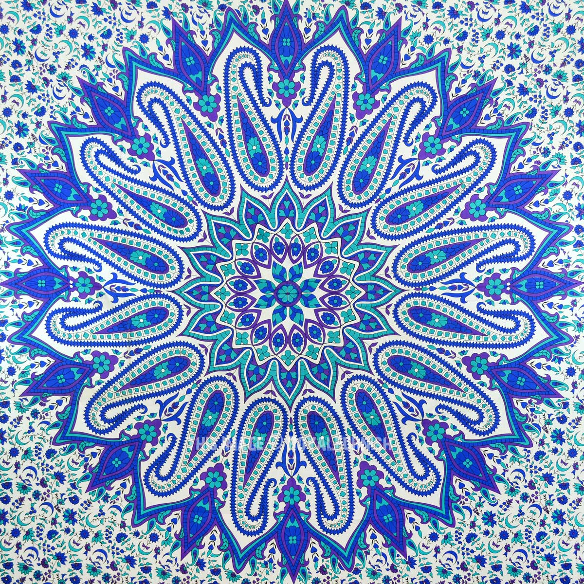 Large Blue Psychedelic Glittering Mandala Tapestry Hippie