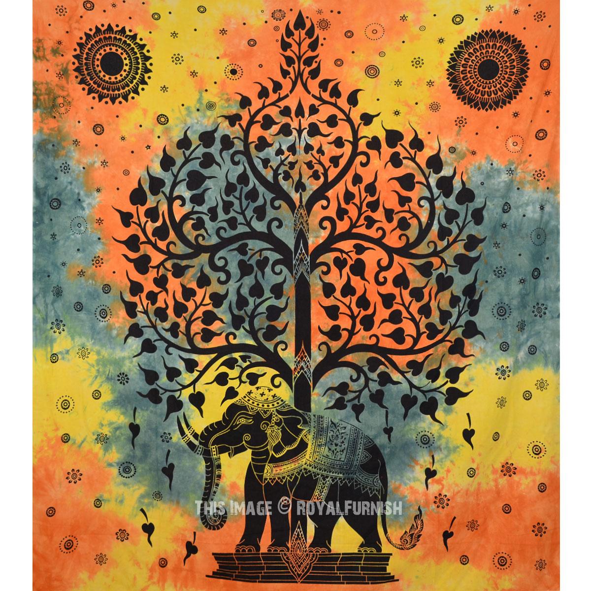 Hippie Elephant Tree Tapestry Wall Hanging, Tie Dye Sheet