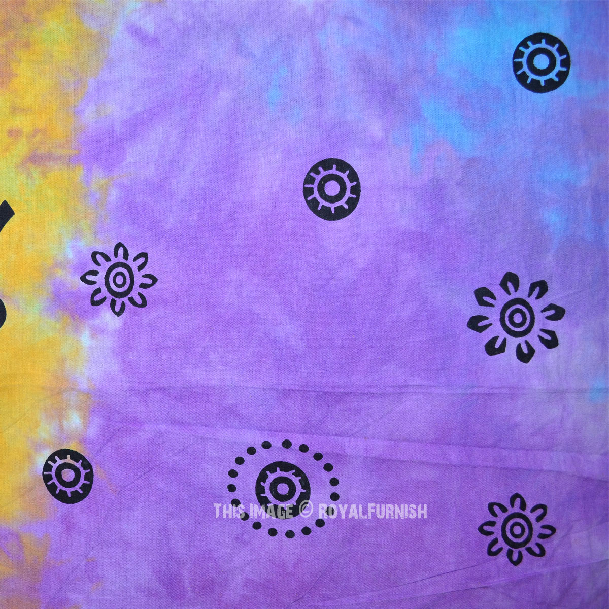 Purple Multi Tie Dye Good Luck Elephant Tree Tapestry