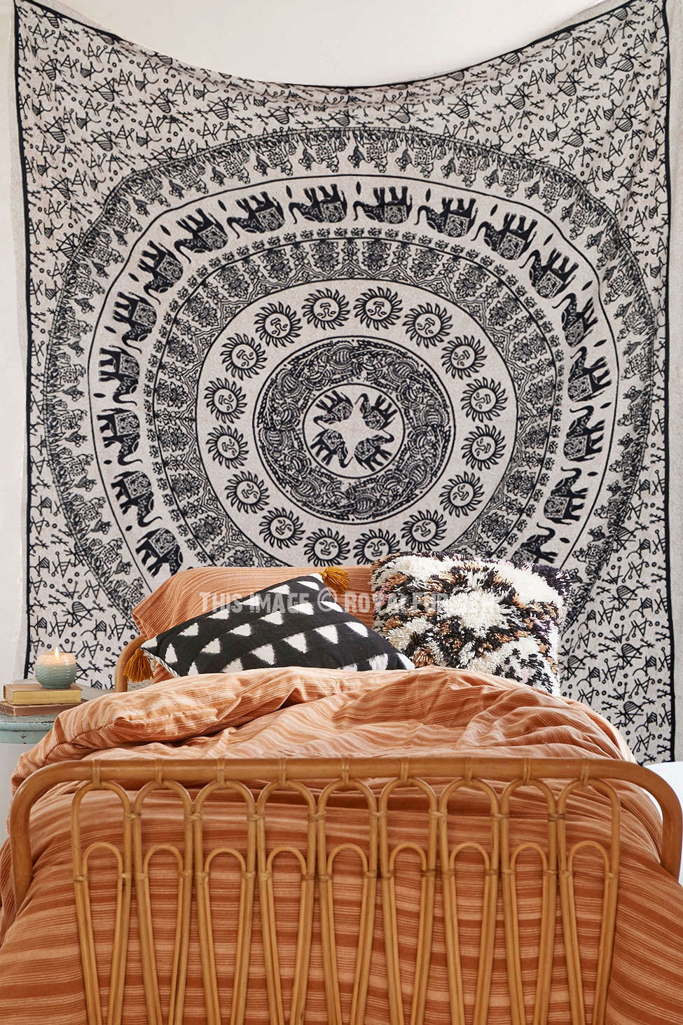 Black And Beige Sun Moon Amp Elephants Ring Mandala Tapestry