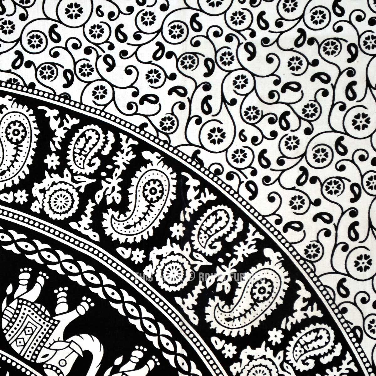 Black And White Paisley Flowers And Elephant Ring Circle
