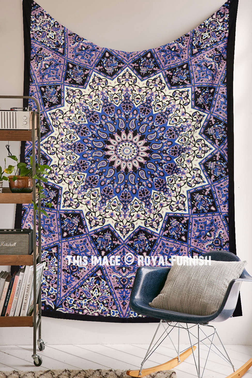 Small Purple 3 D Star Elephants Mandala Wall Tapestry