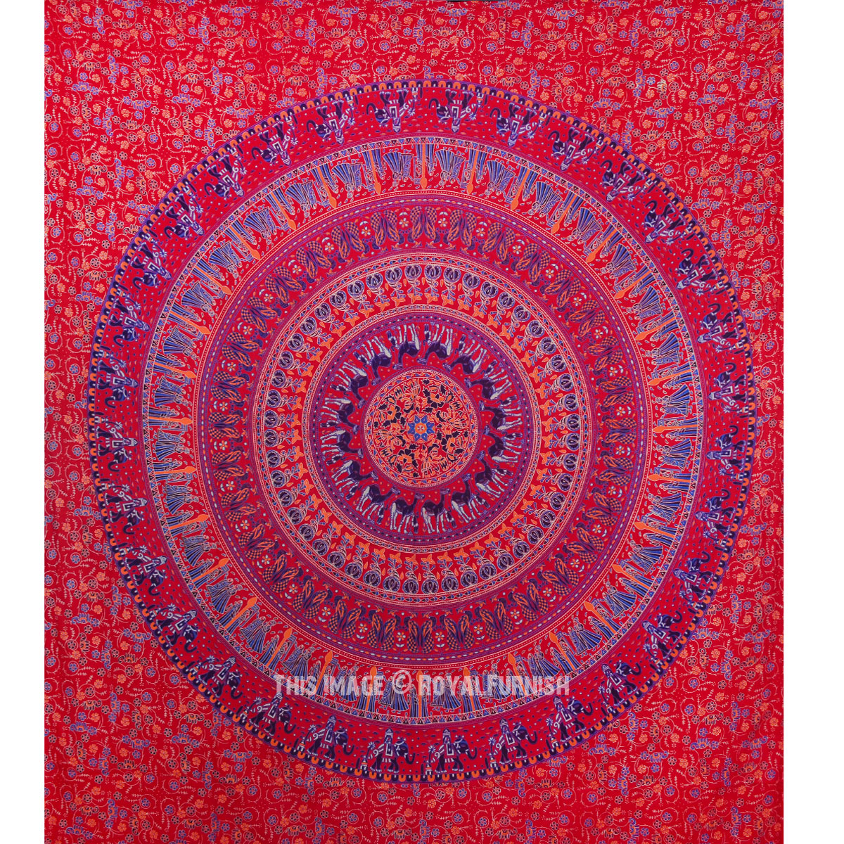 Vibrant Red Bohemian Culture Circle Mandala Tapestry