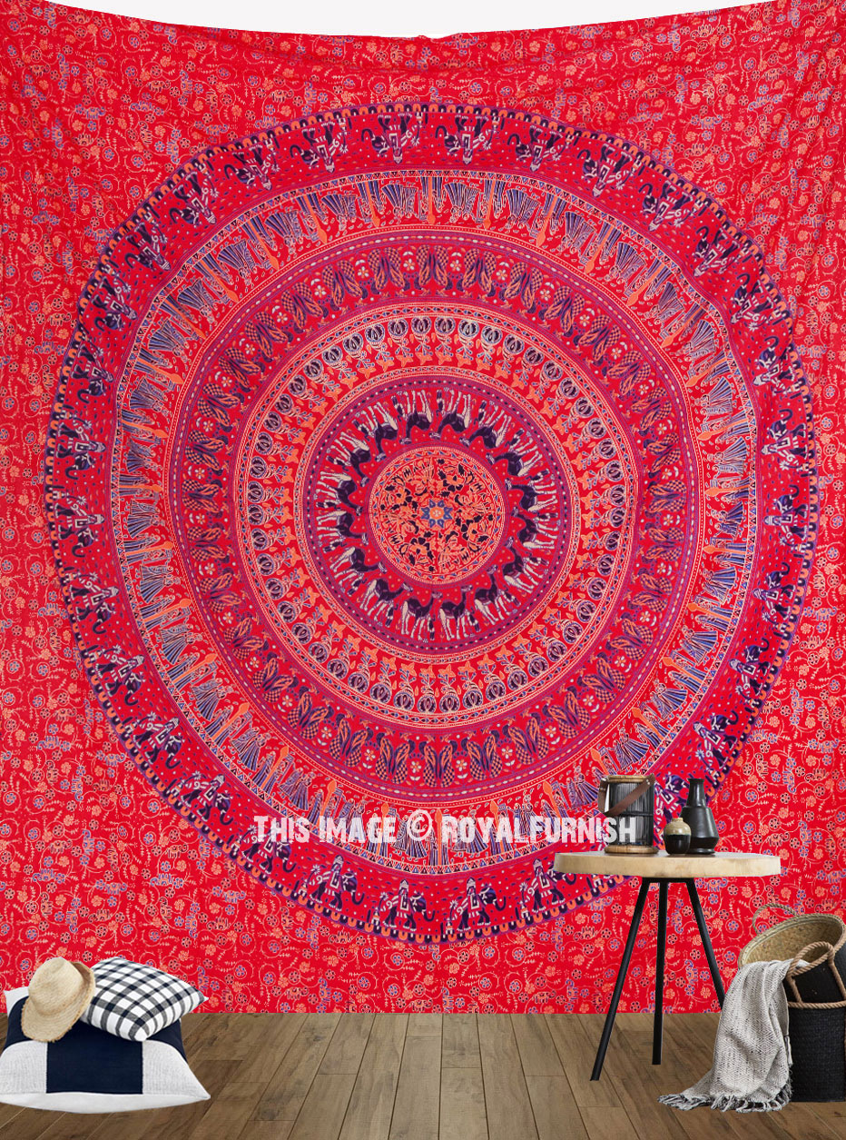 Vibrant Red Bohemian Culture Circle Mandala Tapestry