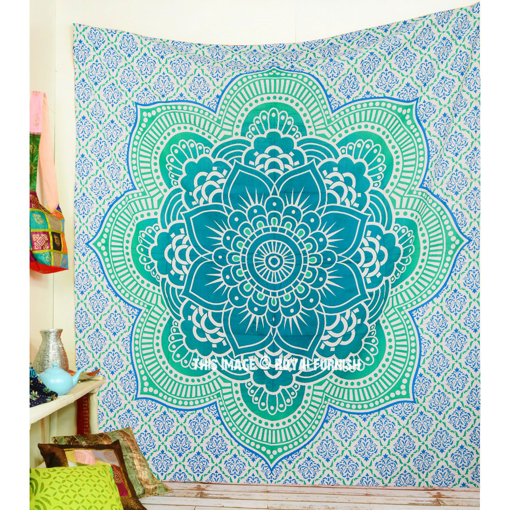 Sea Green Big Flower Of Life Geometric Ombre Mandala
