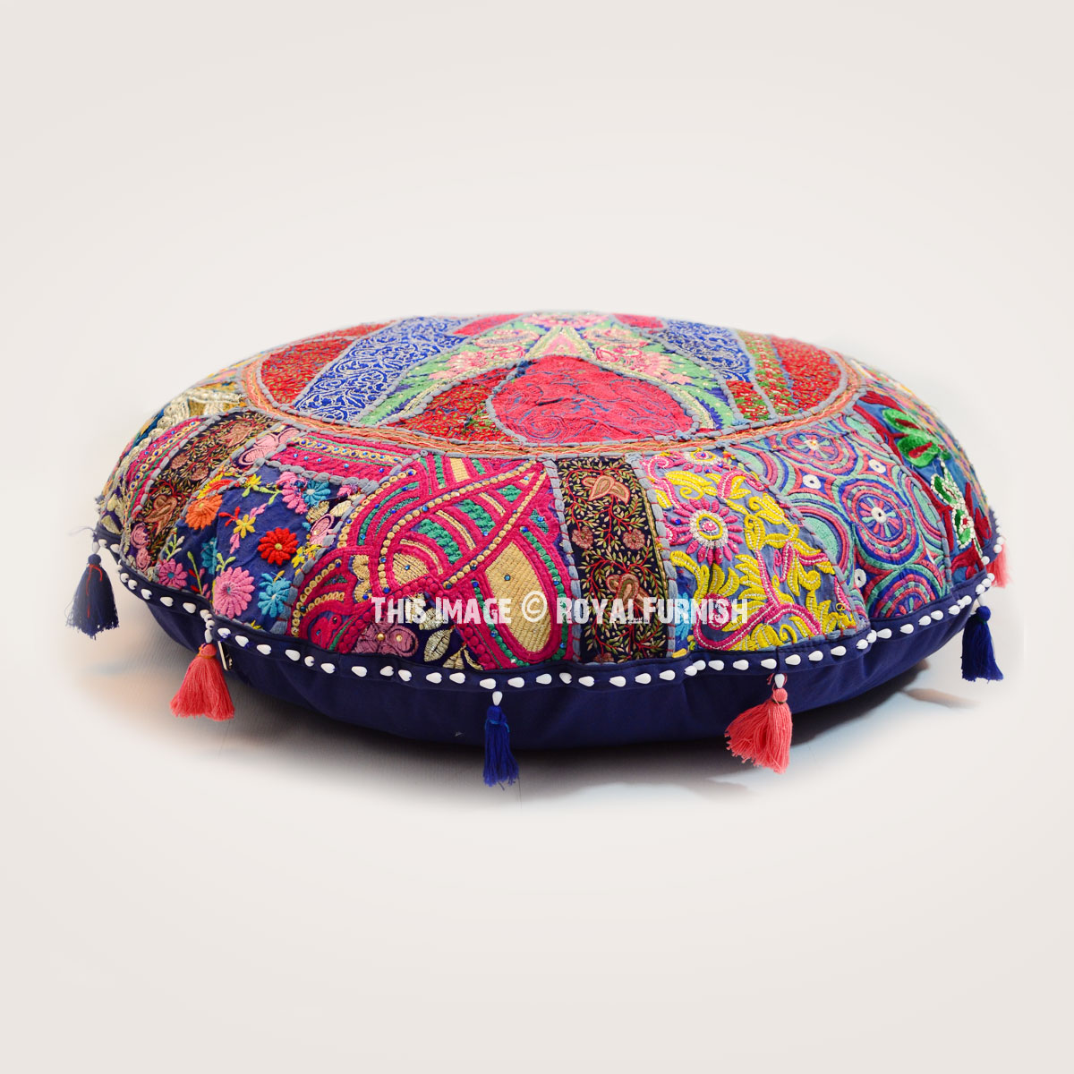 Blue Multi Colorful One-Of-A-Kind Handmade Patchwork Round ...