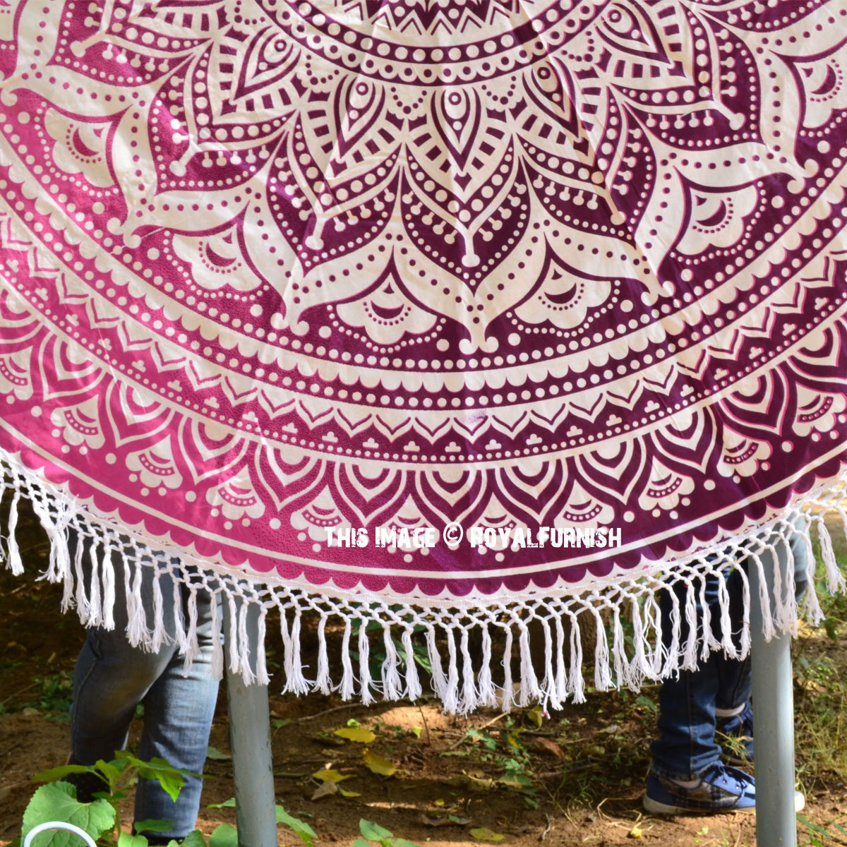 Pink Multi Ombre Medallion Roundie Beach Throw Round Table