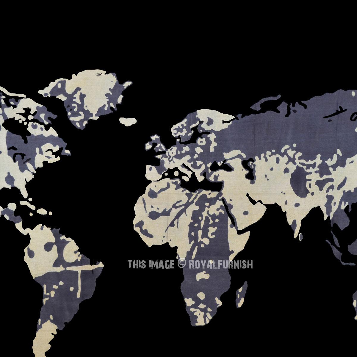 Grey black multi world map wall tapestry atlas bedspread grey black multi world map wall tapestry atlas bedspread gumiabroncs Gallery