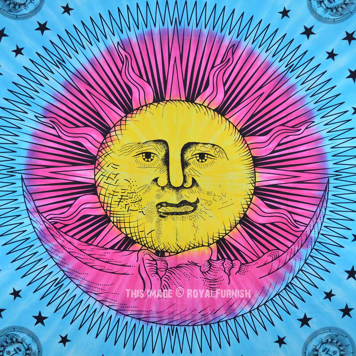 Turquoise Blue and Yellow Sun Face Moon Tapestry, Tie Dye Sheet - RoyalFurnish.com