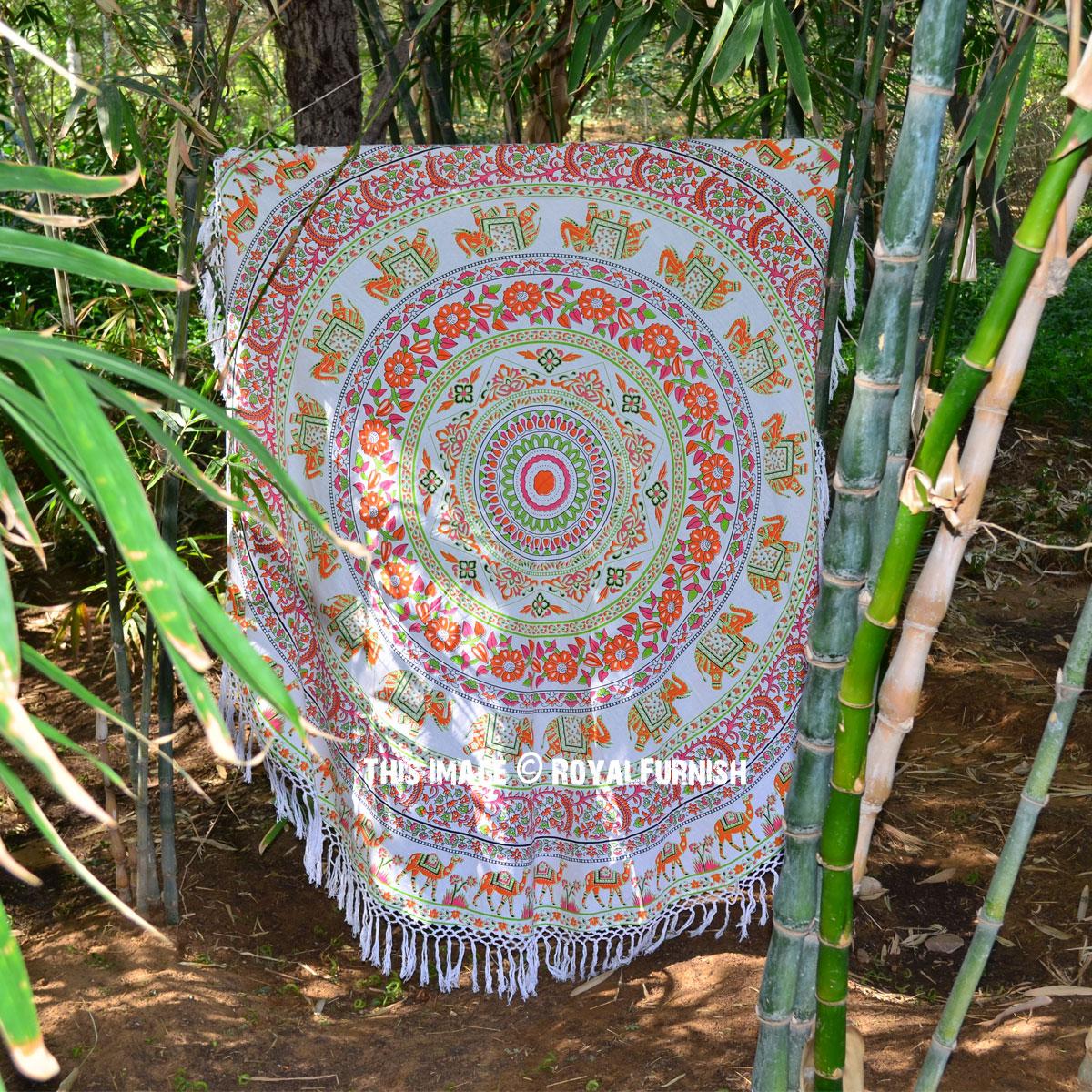 Orange Animal Floral Boho Medallion Circle Mandala Roundie Towel Royalfurnish Com