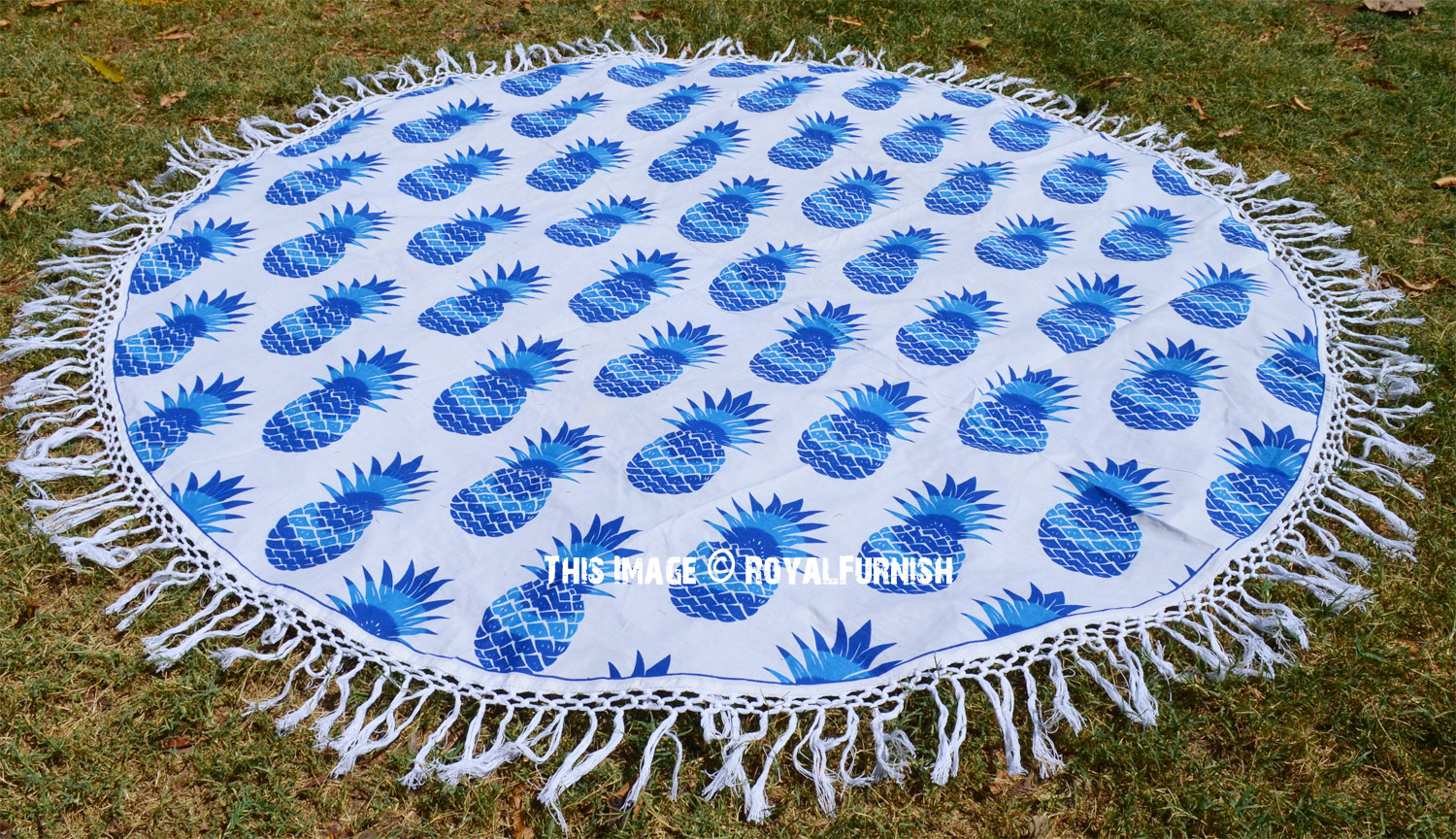 Blue Multi Pineapple Printed Roundie Beach Throw Towel