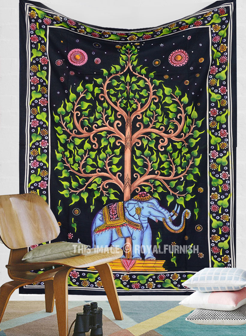 Hand Brush Colorful Elephant Under Tree Tapestry Wall