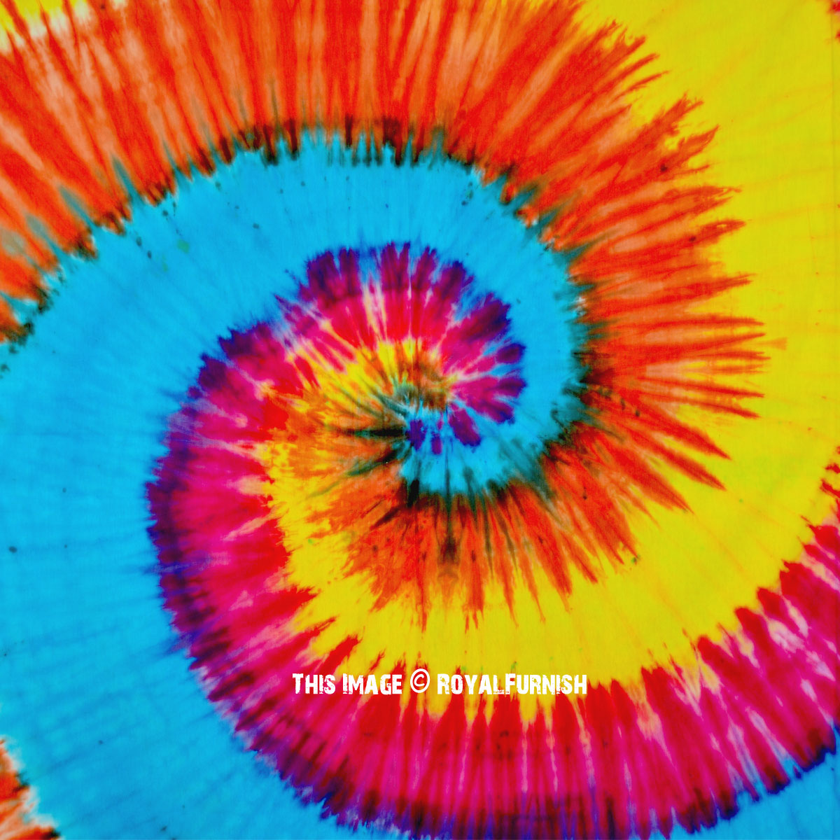Large Rainbow Theme Circle Colorful Hippie Tie Dye