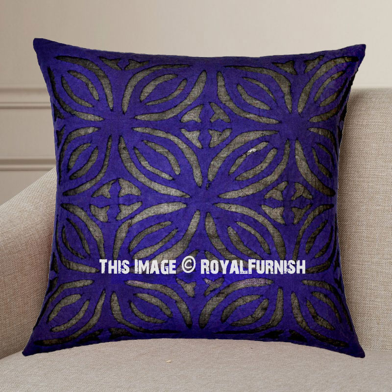 Purple Decorative Unique Hand Carved Flower Cotton Throw Pillow Cover 16X16 - RoyalFurnish.com