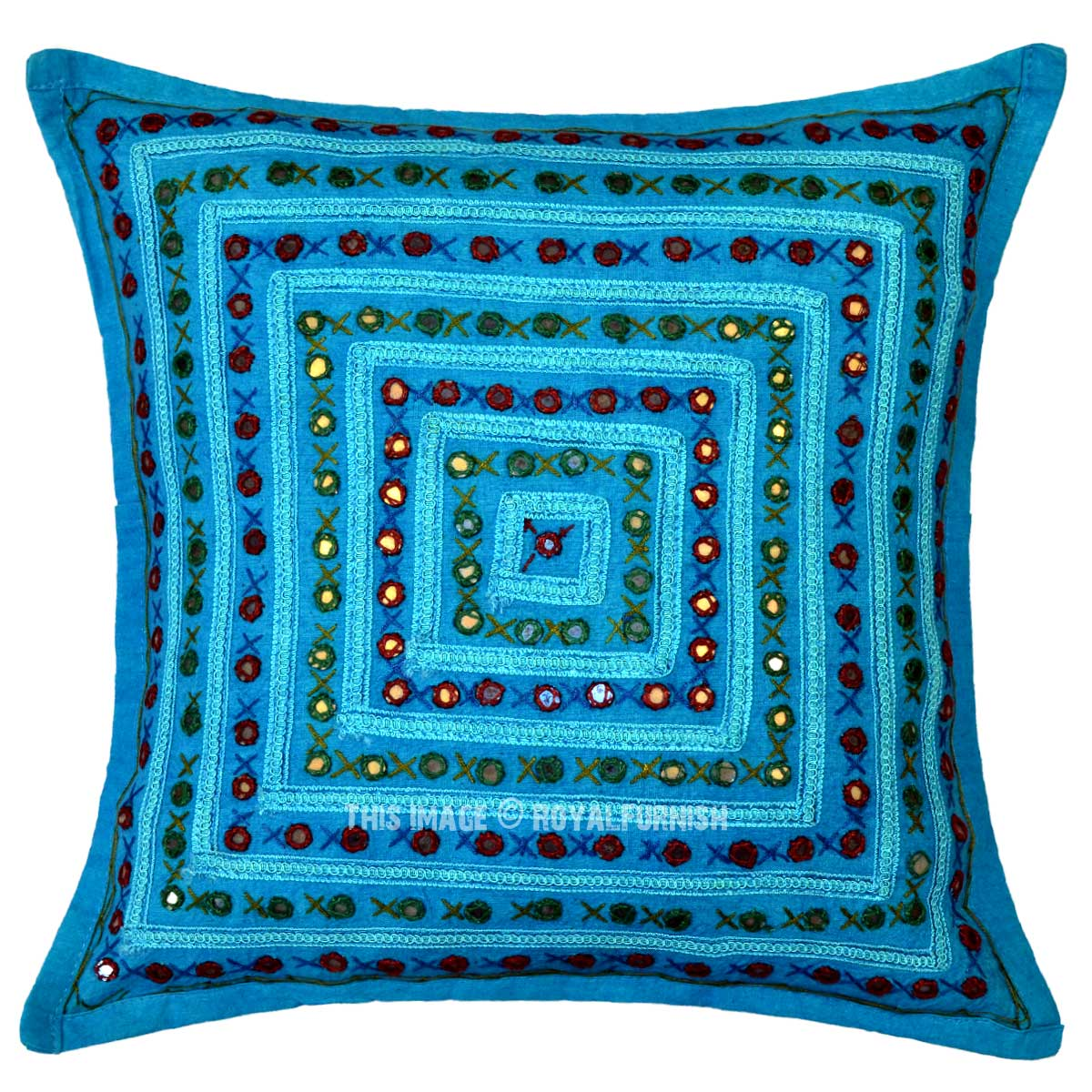 Small Square Decorative Pillows : Turquoise Blue Decorative Square Box Mirrored Embroidered Pillow Cover 16X16 - RoyalFurnish.com