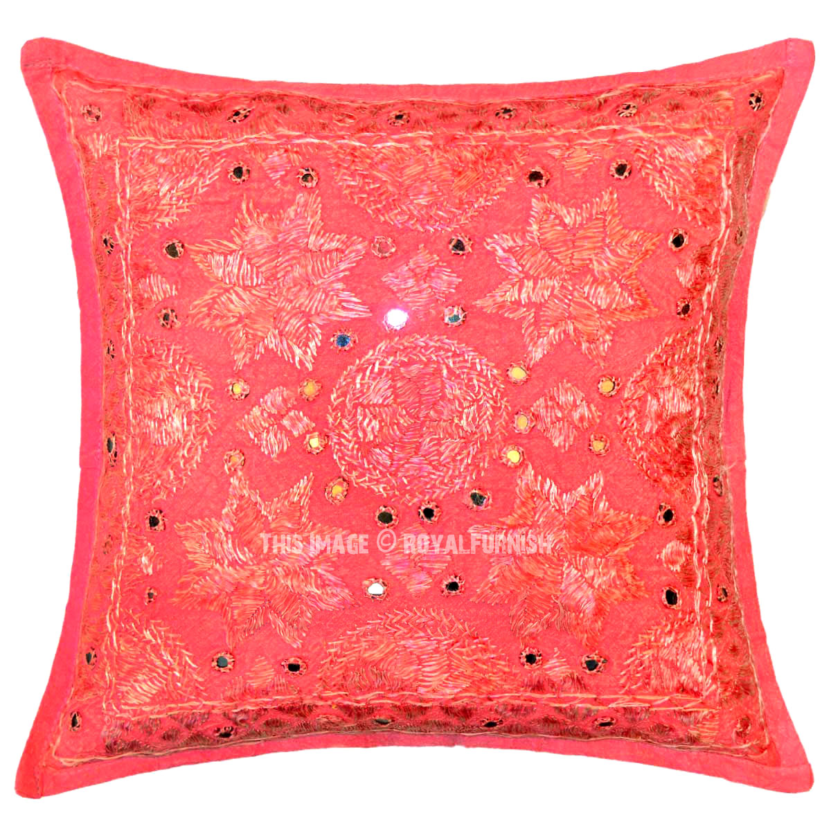 Pink Multi Small Star Mirrored Unique Cotton Throw Pillow Cover 16X16 Inch - RoyalFurnish.com