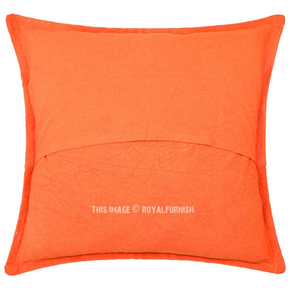 Orange Unique One-Of-A-Kind Decorative Star Mirrored Cotton Pillow Cover 16X16 Inch ...