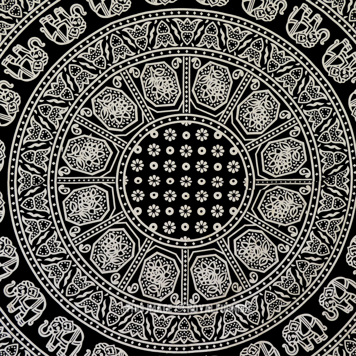 Black And White Elephants Ring Circle Medallion Mandala