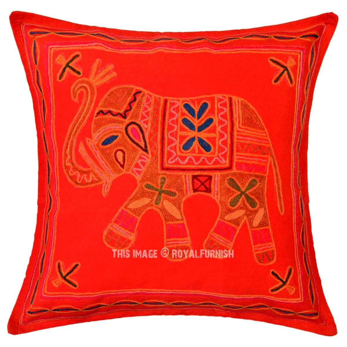 Red Decorative Woolen Threads Needlepoint Elephant Pillow