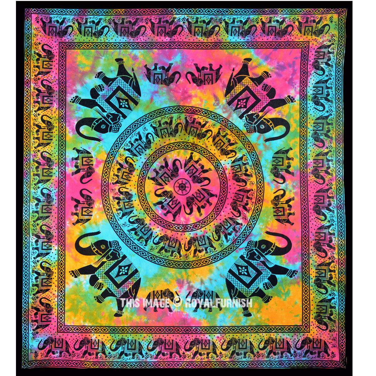 Large Elephant Medallion Circle Tie Dye Hippie Tapestry