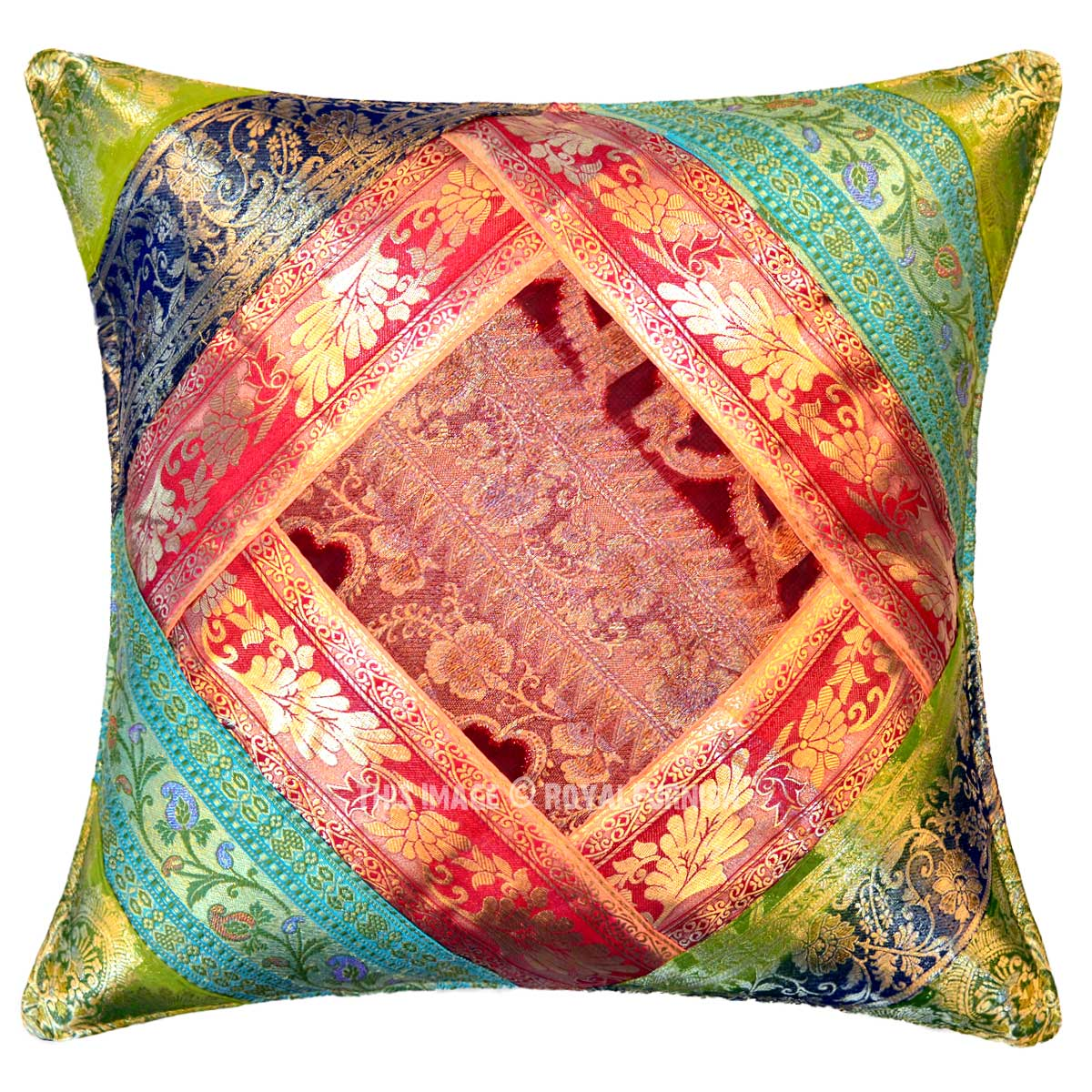 Multi Colorful Unique One Of A Kind Decorative Square Silk