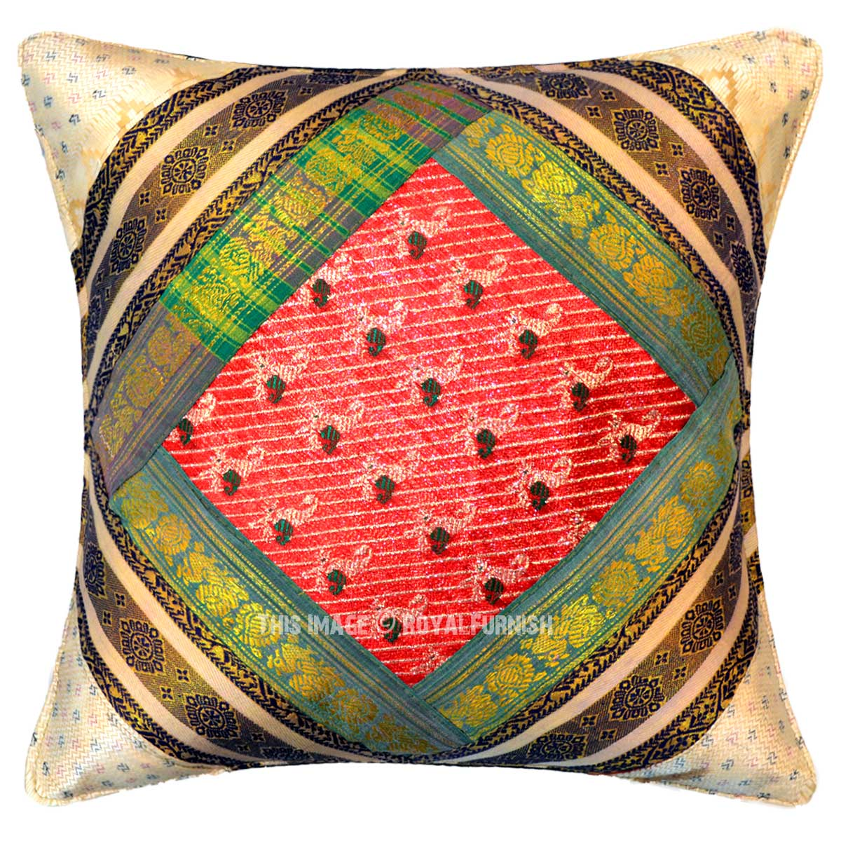 Throw Me A Pillow Coupon Code : Multi Silk Sari Unique One-Of-A-Kind Throw Pillow Cover 16X16 Inch - RoyalFurnish.com