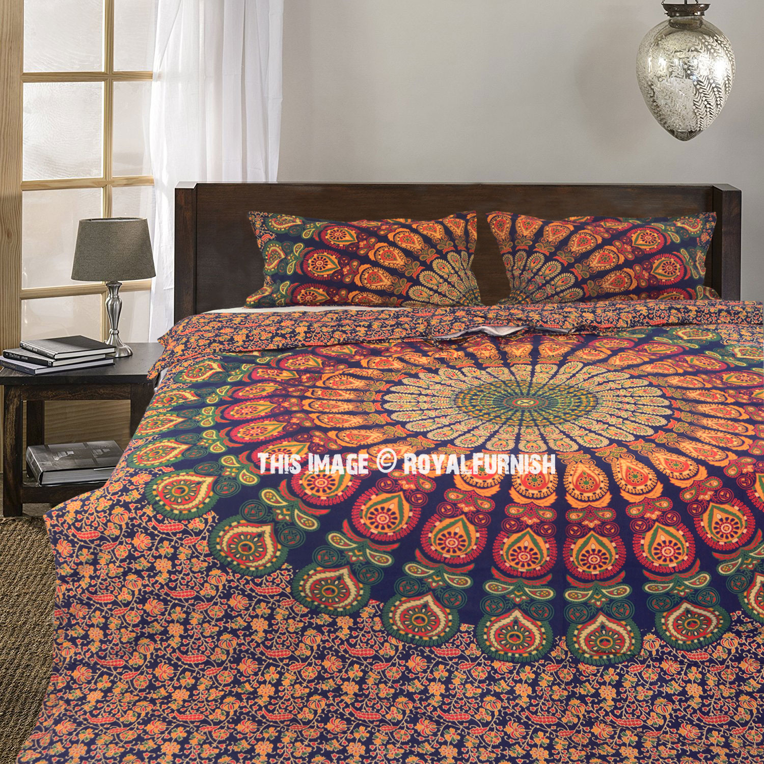 Multi Plum And Bow Devi Mandala Duvet Covers With Set Of 2