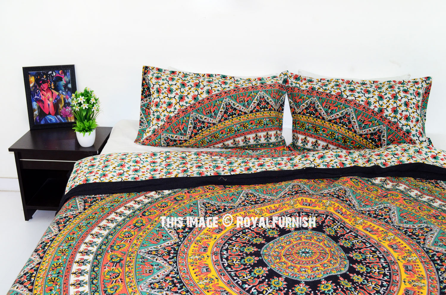 Multi Kerala Bohemian Hippie Bedding Duvet Covers Set With