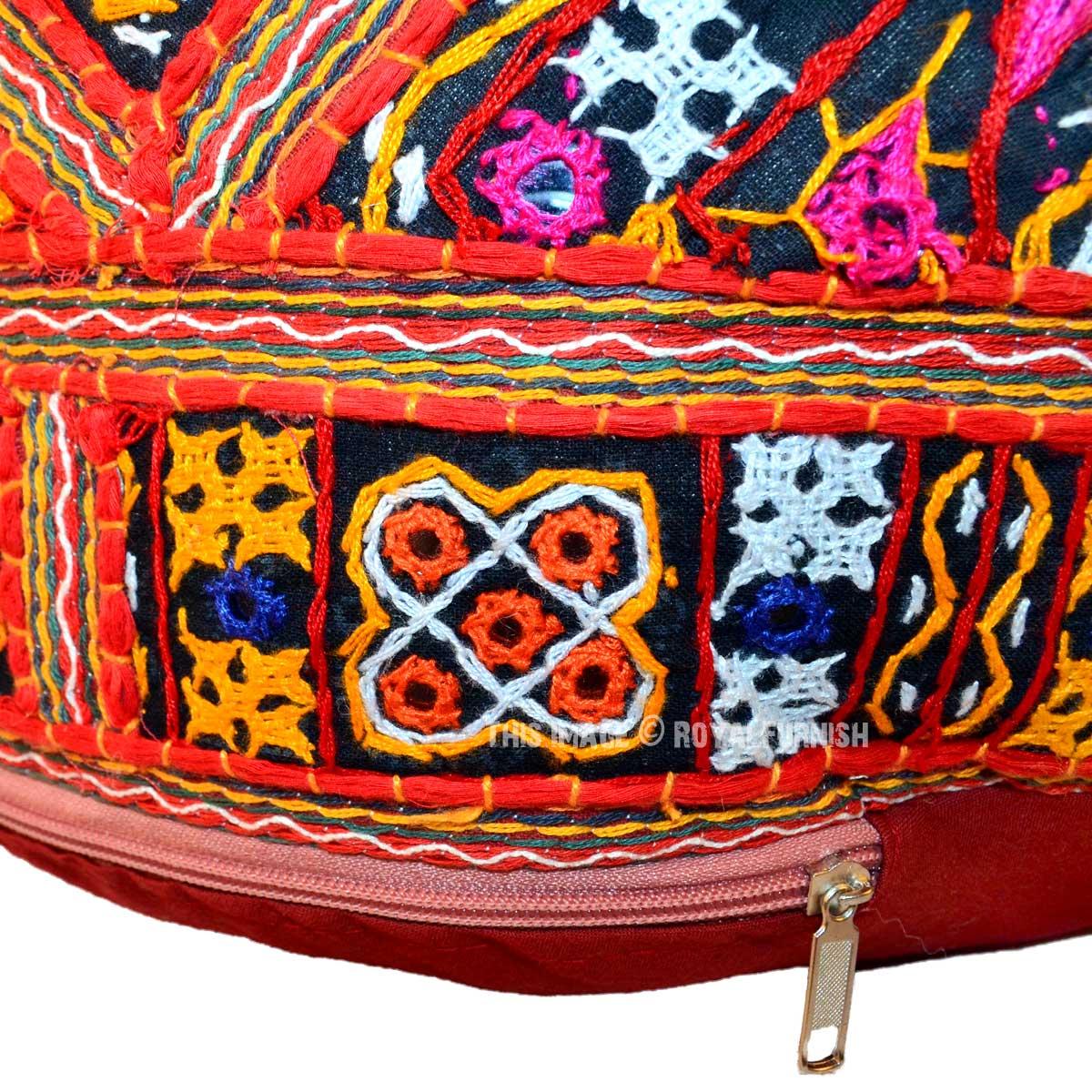 Red Multi Bohemian Round Pouf Ottoman 17x12 Inch