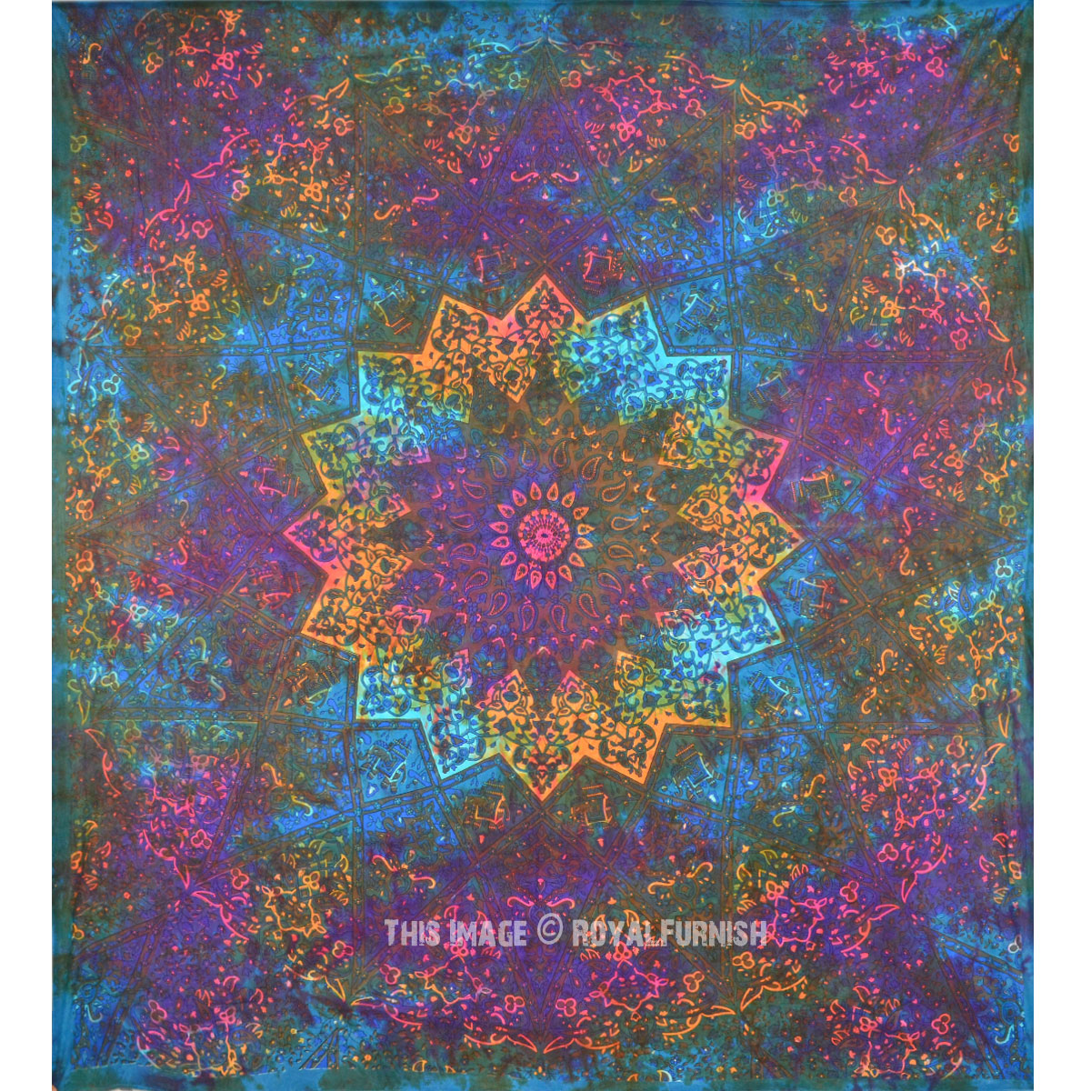 Multi Tie Dye Star Mandala Tapestry Royalfurnish Com