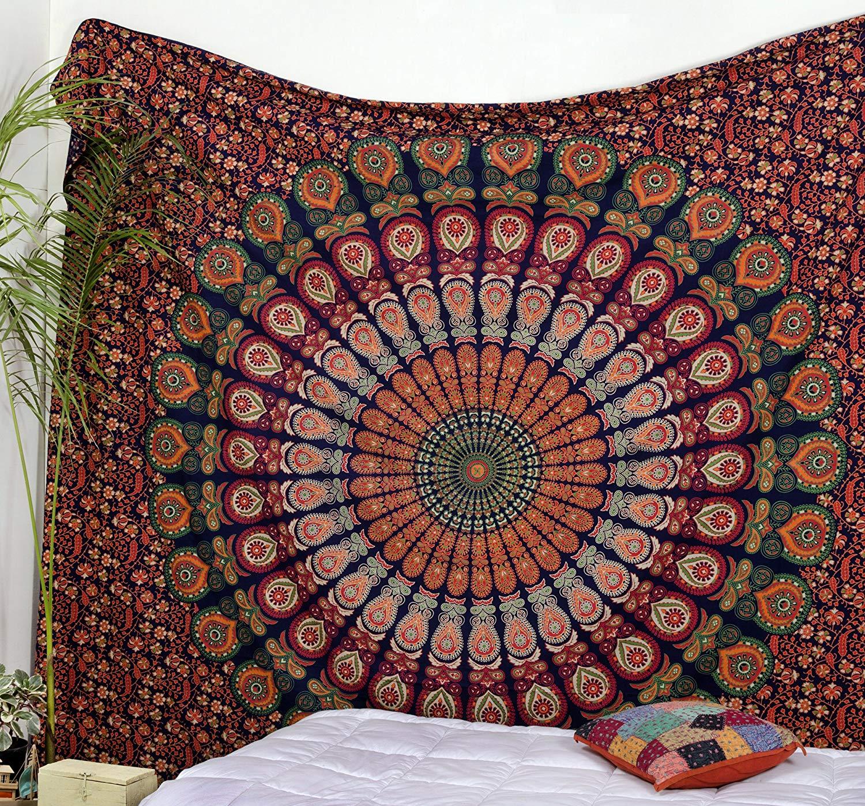 Blue Multi Good Vibes Mandala Medallion Wall Tapestry