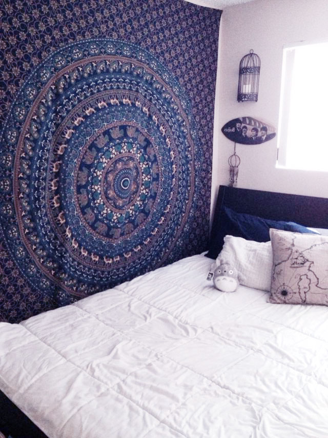 Blue Queen Size Wall Hanging Hippie Indian Mandala
