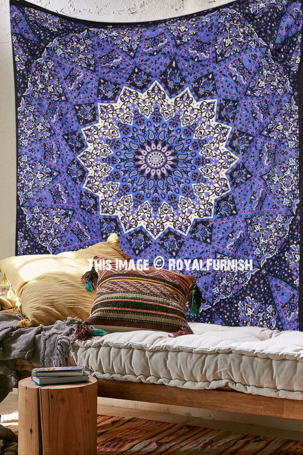 Colorful 3 D Star Mandala Tapestry Psychedelic Hippie