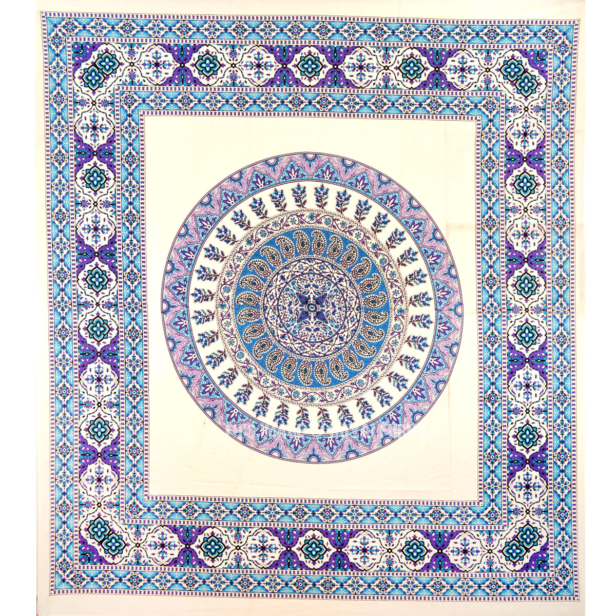 Large White And Blue Plum And Bow Devi Medallion Wall