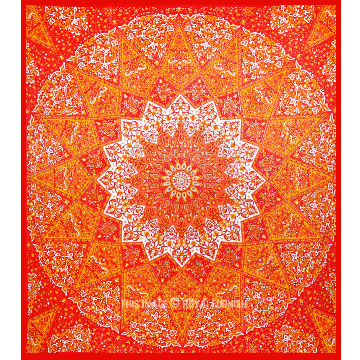 Vibrant Red 3 D Boho Star Medallion Mandala Tapestry