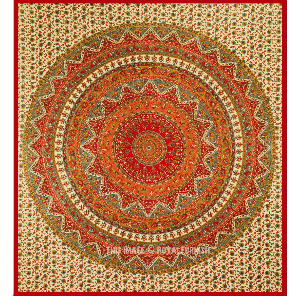 Red Bohemian Mandala Wall Tapestry, Kerala Hippie Bedding - RoyalFurnish.com
