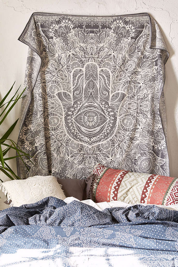 Grey Queen Multi Sketched Hand Hamsa Tapestry