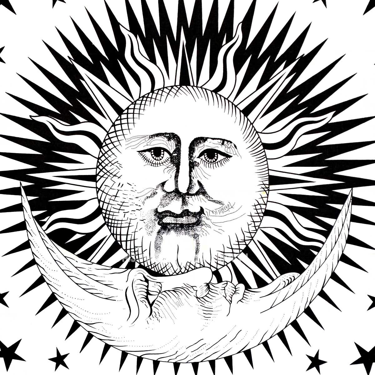Small Black And White Sun Moon Star Tapestry
