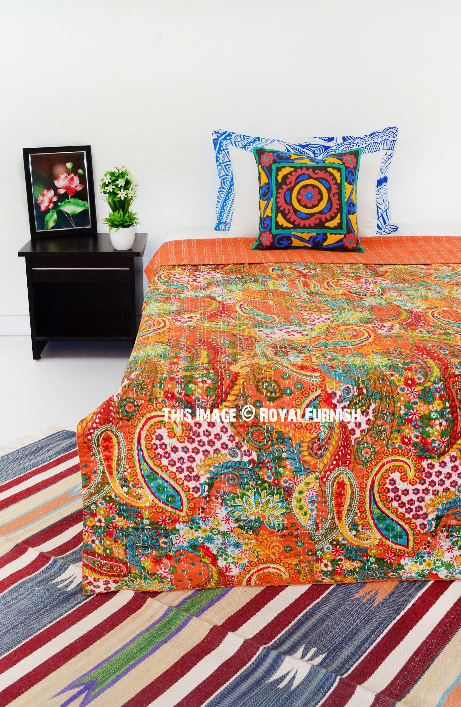Orange Multi Paisley Printed Handmade Kantha Quilt Blanket