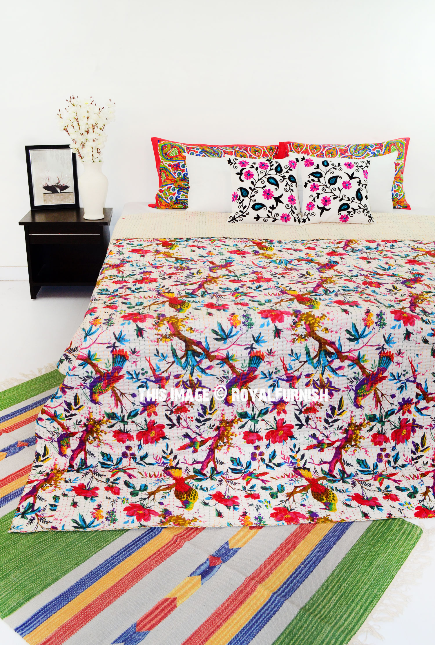 White Multi Tree Of Life Printed Queen Size Kantha