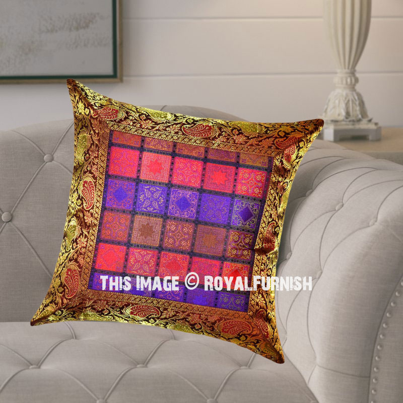 Small Square Decorative Pillows : Brown Multi Small Designed Square Boxes Unique Silk Accent Pillow Cover 16X16 Inch ...