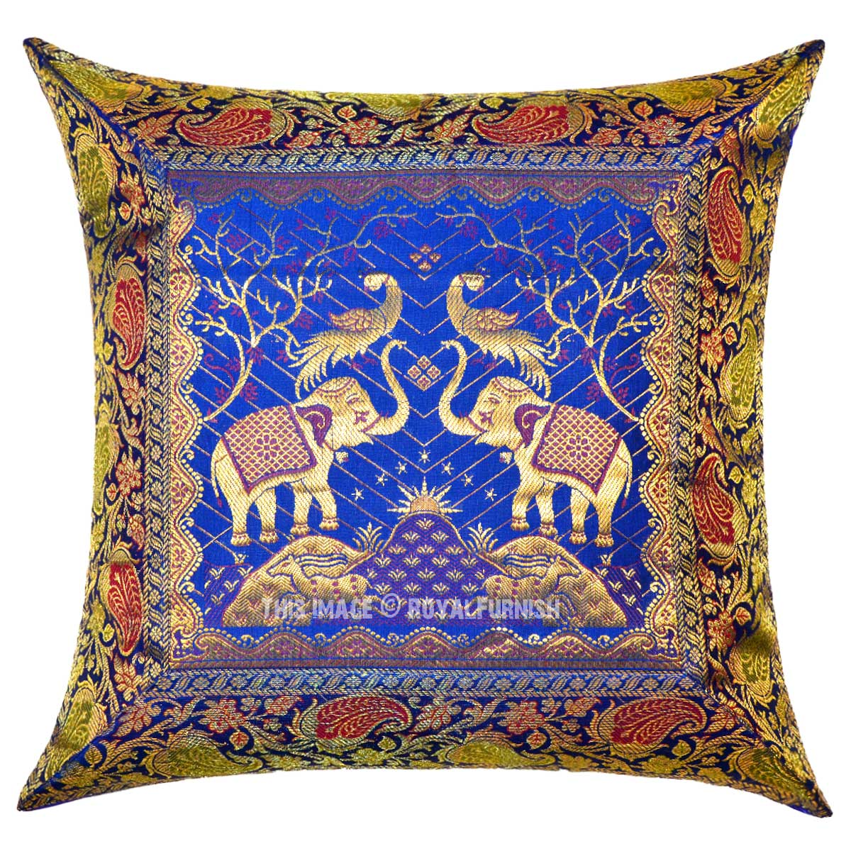 Blue Two Elephants And Birds Featuring Decorative Silk