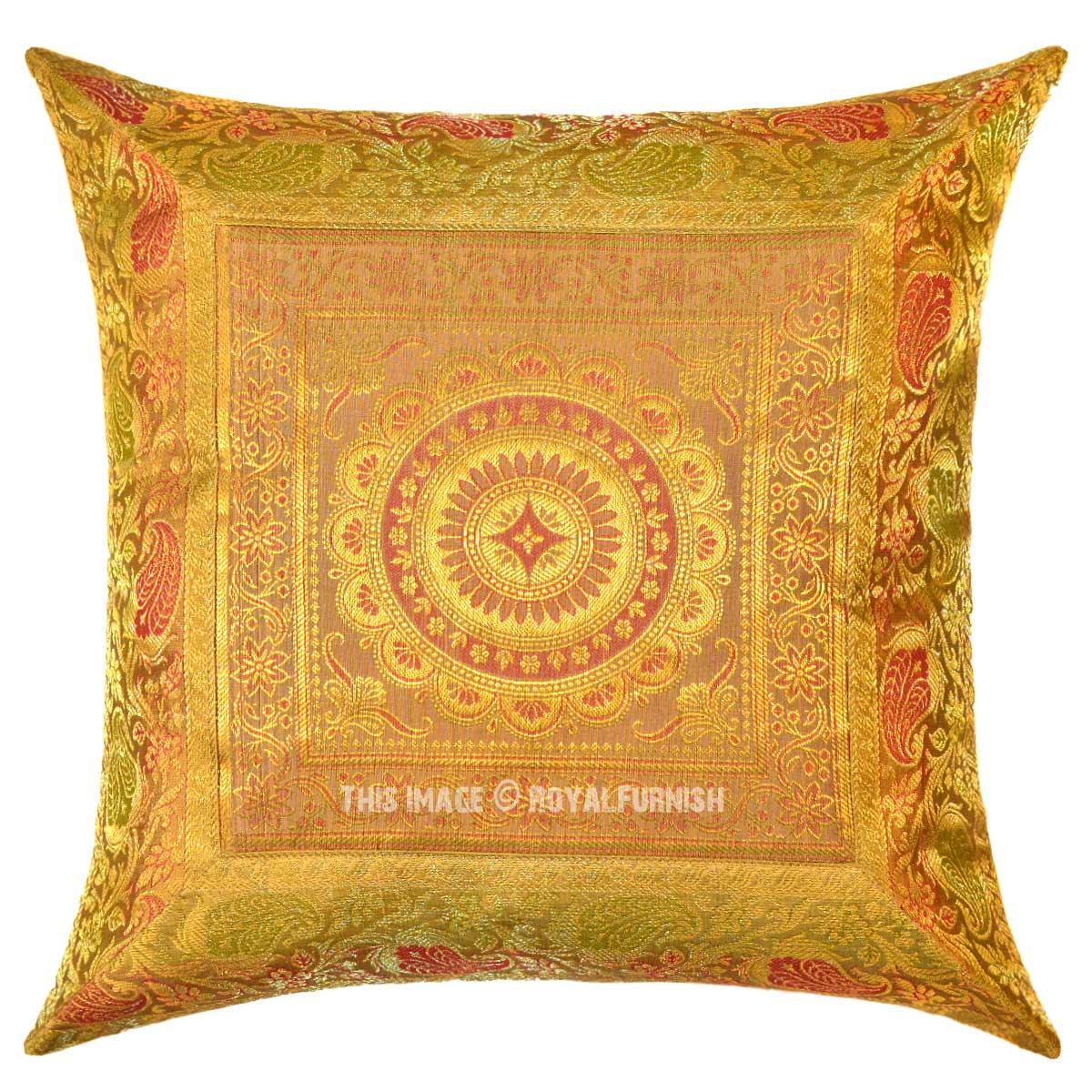 Yellow Flower Medallion Circle Outdoor Decorative Silk