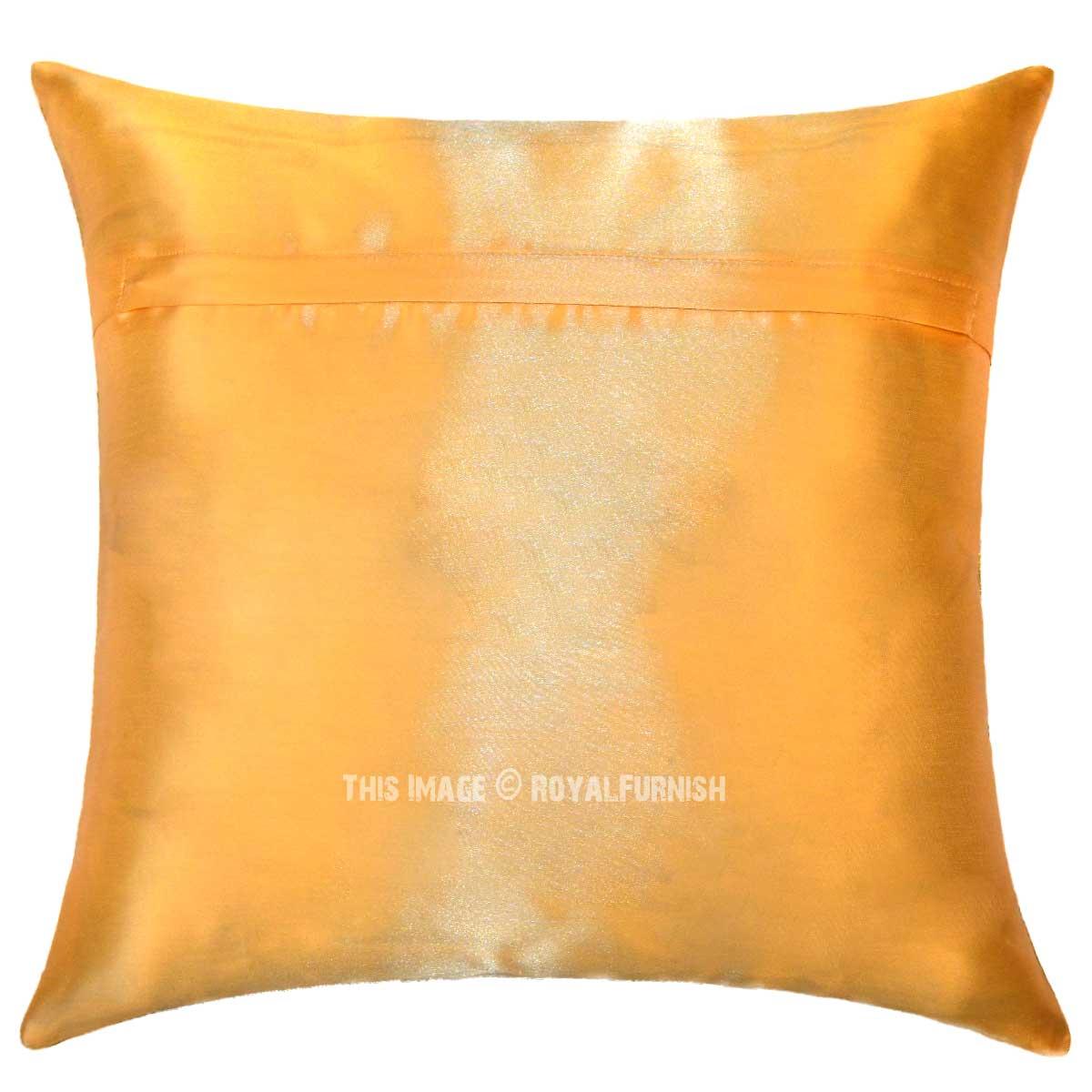 Yellow Silk Throw Pillows : Yellow Indian Elephant Silk Brocade Throw Pillow Cover - RoyalFurnish.com