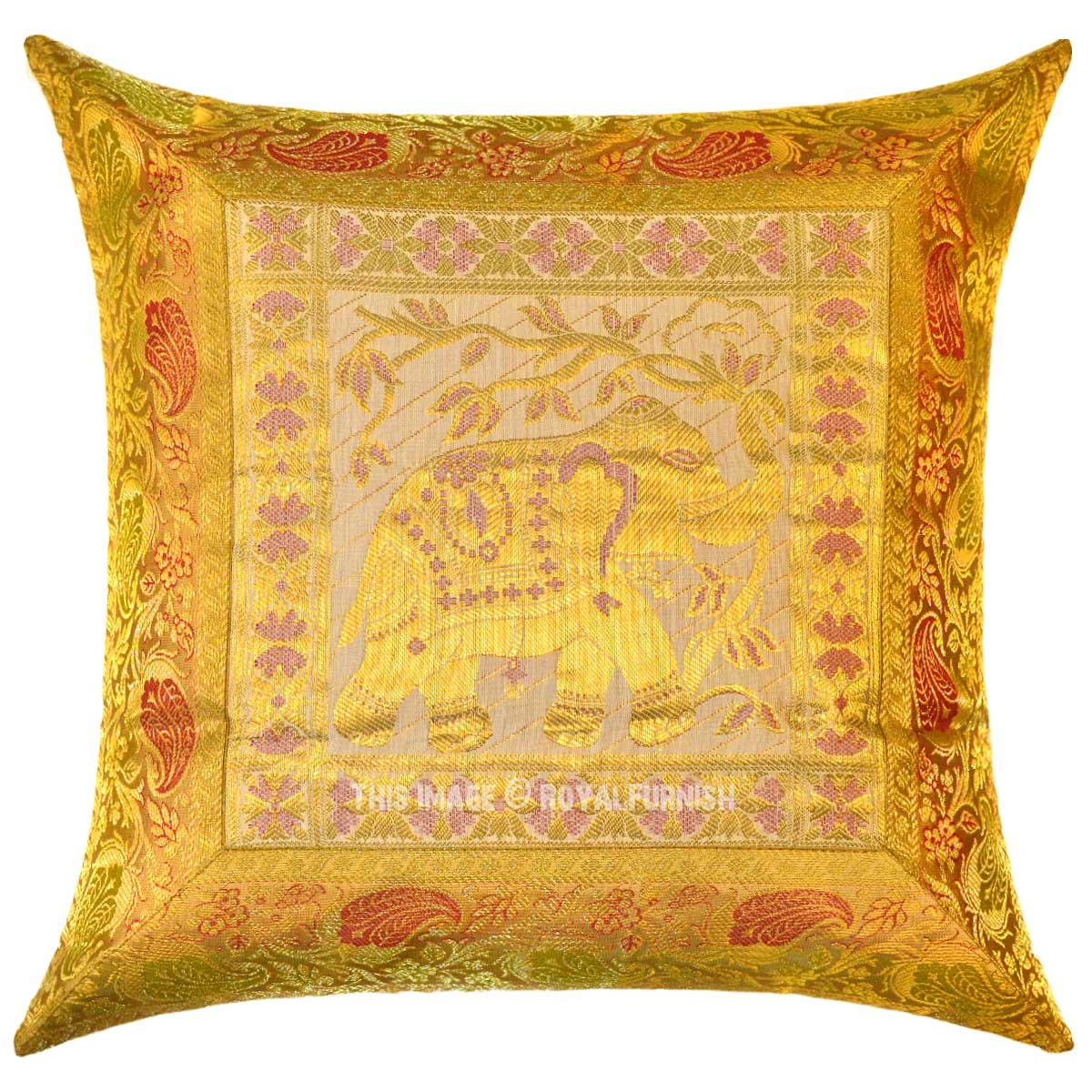 Yellow Indian Elephant Silk Brocade Throw Pillow Cover