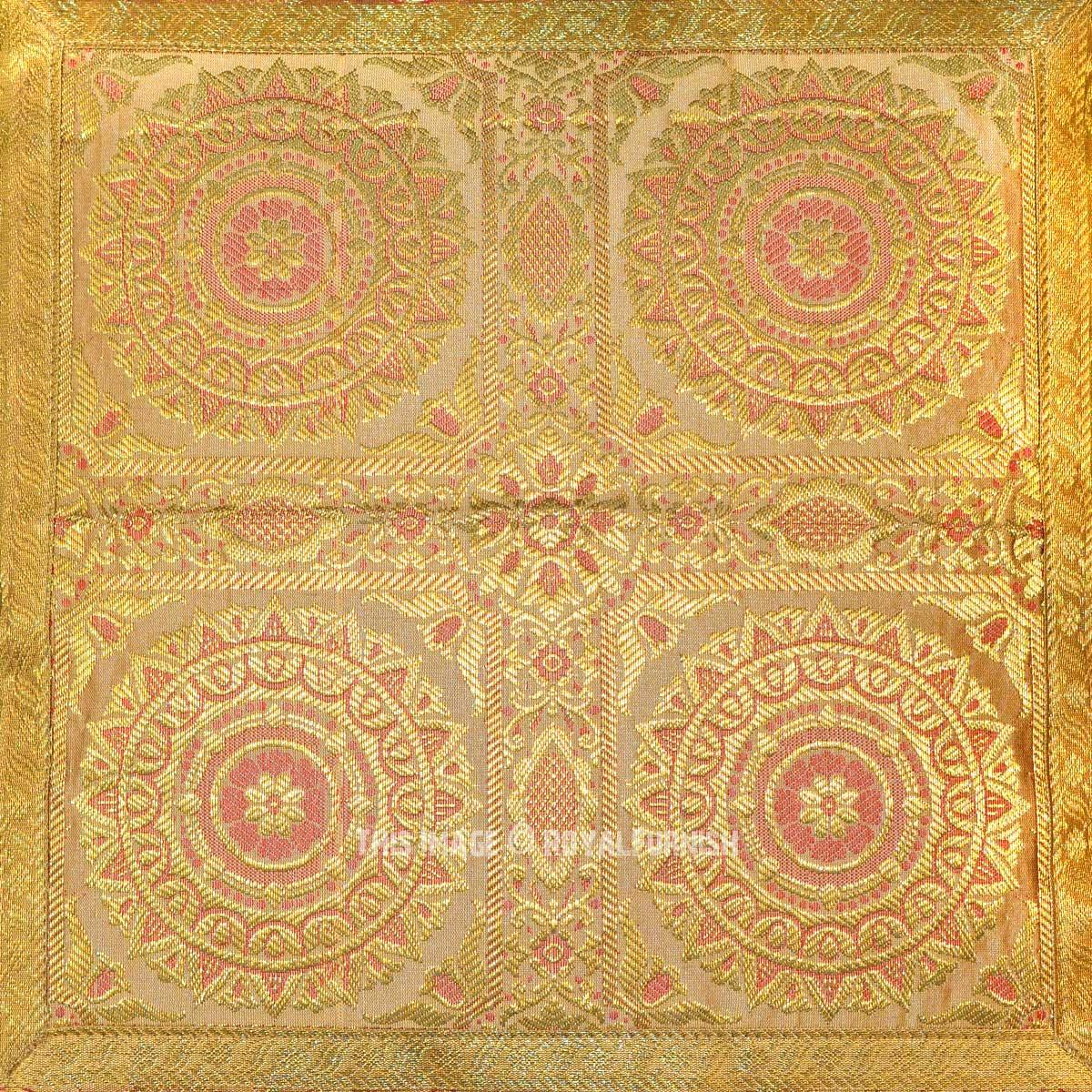 Golden Four Floral Mandala Circle Silk Brocade Throw
