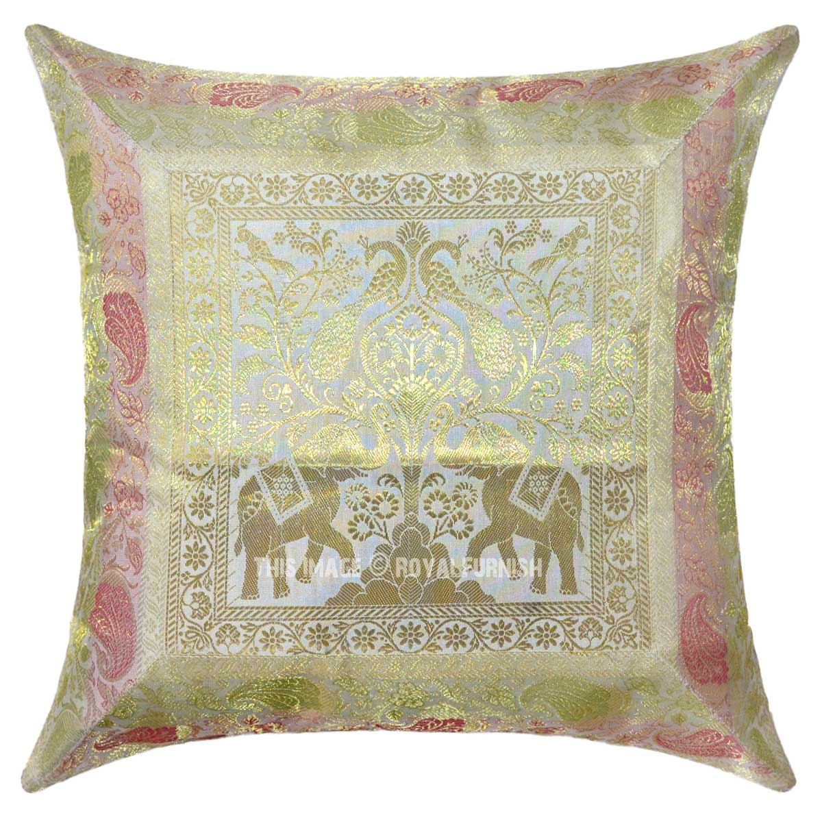 White Elephants And Birds Featuring Decorative Silk Square
